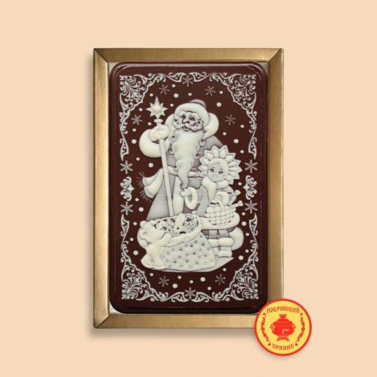 Дед мороз с посохом, снегурочка с мишкой и подарки (160 гр.)