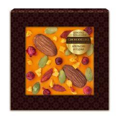 Шоколад с украшением апельсин и годжи (35 гр.)