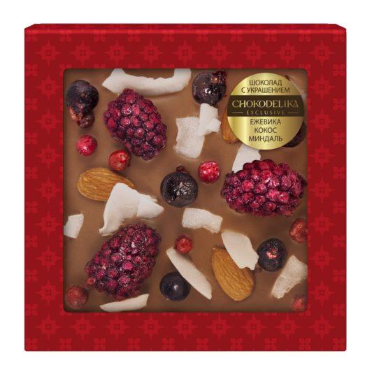 Шоколад молочный с украшением ежевика, кокос, миндаль (75 гр.)