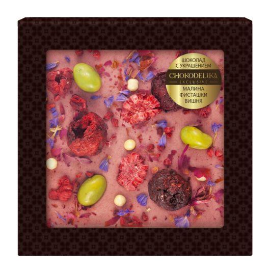 Шоколад белый с украшением малина, фисташки, вишня (75 гр.)