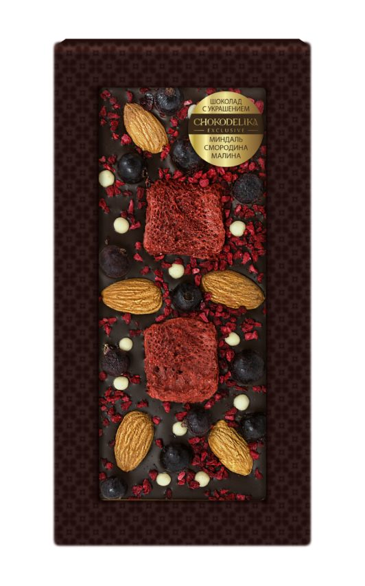 Шоколад с украшением миндаль, смородина, малина (100 гр.)