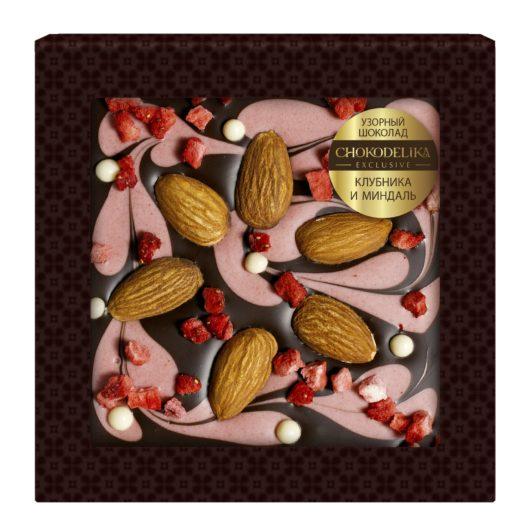 Шоколад узорный Клубника и миндаль (80 гр.)
