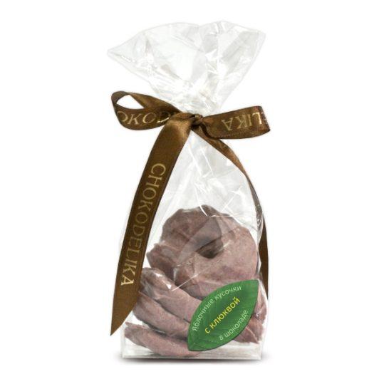 Яблочные кусочки в шоколаде с клюквой (80 гр.)
