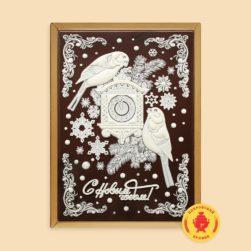"""Снегири с часами """"С Новым Годом"""" (700 гр.)"""