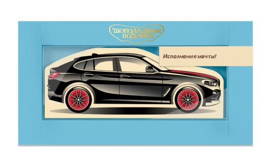 Шоколадная открытка «Автомобиль черный»