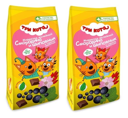 Мармелад желейный в горьком шоколаде со смородиной и шиповником